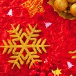 Christmas card snowflake golden and red — Zdjęcie stockowe