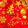 Christmas card background golden and red — Stock Photo