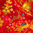 Christmas card background golden and red — Stockfoto