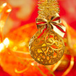 Christmas tinsel golden glitter bauble loop — Stock Photo #7497582