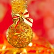 Christmas tinsel golden glitter bauble loop — Photo