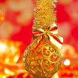 Christmas tinsel golden glitter bauble loop — Stock Photo