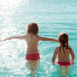 Children girls rear view in the beach at sunset — Stock Photo #7574143