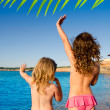 Ibiza Cala Conta little girls greeting hand sign — Stock Photo