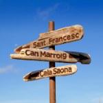 Formentera wood road signs Cala Saona — Stock Photo