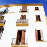 Ibiza town white facades of mediterranean — Stock Photo