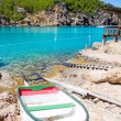 Ibiza Port de Benirras beach turquoise color — Stock Photo