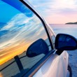 Stock Photo: Ibiza cala Conta Conmte in window car glass