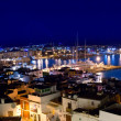 Ibiza downtown eivissa high angle night view — Stock Photo