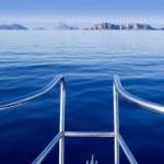 Boat bow in ibiza sailing to Esparto island — Stock Photo #7578124