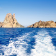 Es Vedra islet and Vedranell islands in blue - Stock Photo