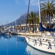 Denia marina port boats and Mongo - ストック写真