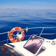 Boat bow open porthole sailing blue calm sea — Stock Photo