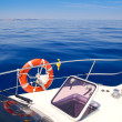 Boat bow open porthole sailing blue calm sea — Stock Photo #7578546
