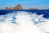 Ibiza Es Vedra from boat prop wash wake — Stock Photo