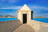 Ibiza watchtower with Eivissa port view — Stock Photo
