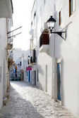Ibiza downtown white houses narrow street — Stock Photo
