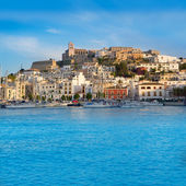 Ibiza Eivissa town with blue Mediterranean — Stock Photo