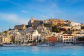 Ibiza Eivissa town with blue Mediterranean — Stock Photo