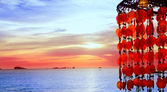 Puesta de sol de ibiza cala conta conmte — Foto de Stock