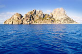 Es Vedra islet and Vedranell islands blue sea — Stock Photo
