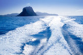 Es Vedra and Vedranell islands boat wake — Stock Photo