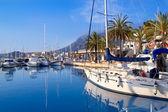 Denia marina port boats and Mongo — Stock Photo
