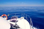 Boat bow open porthole sailing blue calm sea — Stock Photo