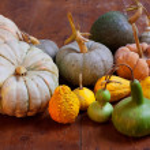 Halloween pumpkin still life on wood table — Stock Photo #7650741