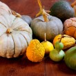 Halloween pumpkin still life on wood table — Stock Photo