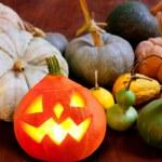 Halloween pumpkin Jack o lantern glowing — Stock Photo