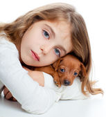 Brunette kid girl with mini pinscher pet mascot dog — Stock Photo