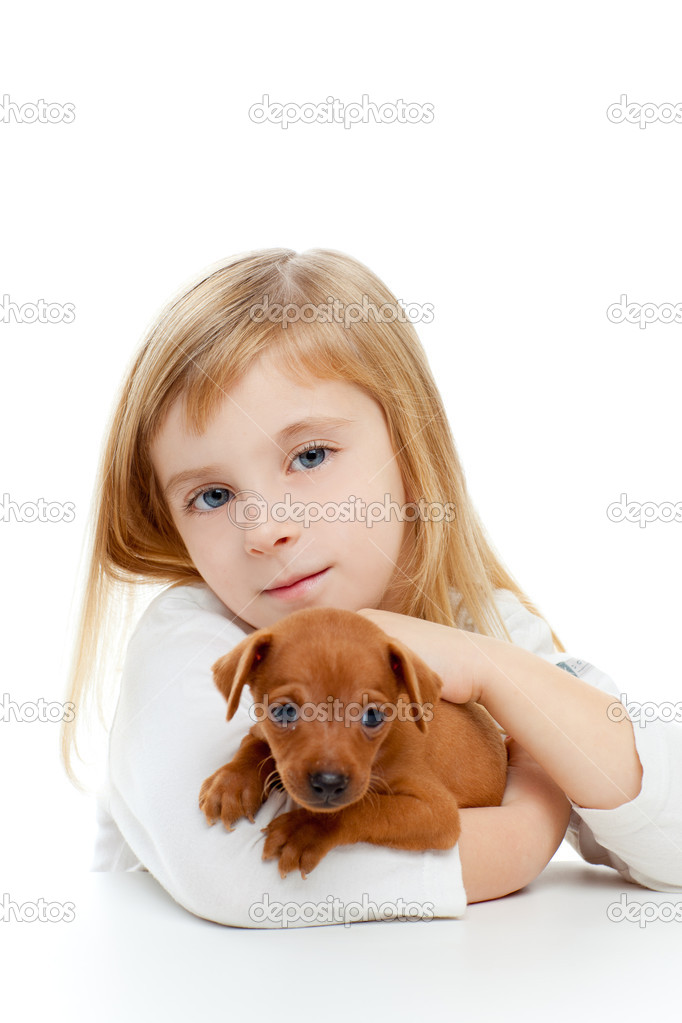 Blond children girl with dog puppy mascot mini pinscher on white background  Stock Photo #7651791