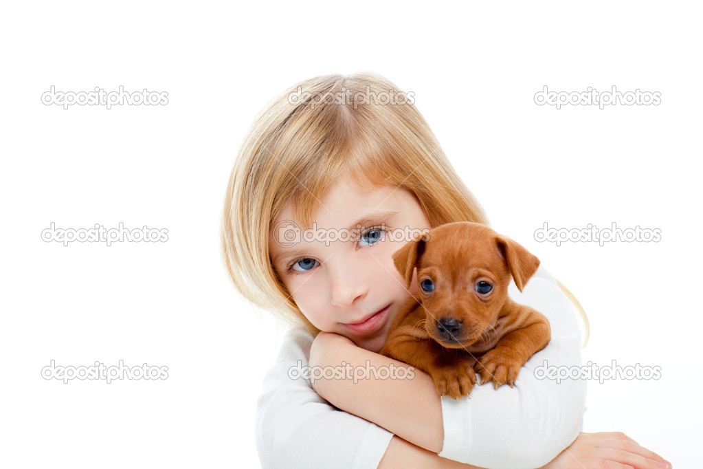 Blond children girl with dog puppy mascot mini pinscher on white background  Stock Photo #7651805