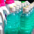Cleaning domestic chemical bottles in a row - Stock Photo