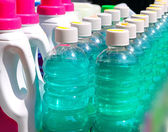 Cleaning domestic chemical bottles in a row — Stock Photo