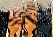 Brown black comb for long hair — Zdjęcie stockowe