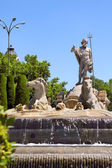 Madrid Neptuno fountain in Paseo de la Castellana — Stock Photo