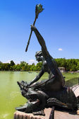 Madrid sirena con cetro mermaid statue in Retiro — Stock Photo