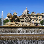 Cibeles statue Madrid fountain in Paseo Castellana — Stock Photo