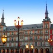 Madrid Plaza Mayor typical square in Spain - Stock Photo