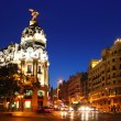 Alcala and Gran Via street in Madrid night city — Stock Photo