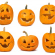 Carved Jack-o-lanterns lit for Halloween — Stock Photo #6930990