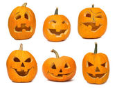 Carved Jack-o-lanterns lit for Halloween — Stock Photo
