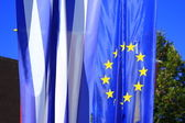 Flags of Greece and the Eurpean Union — Stock Photo