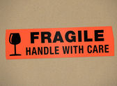 Cardboard - Fragile Handle with care — Stock Photo