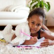 Little African Asian girl drawing — Stock Photo #6934125