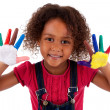 Little African Asian girl with hands painted — Stock Photo
