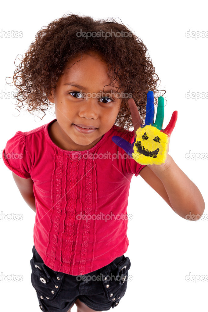 Little African Asian girl with painted hands in colorful paints — Stock Photo #6953022