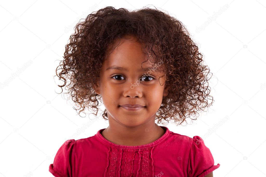Cute little African Asian girl,  over white background — Stock Photo #6965162